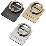 3 Pieces Combo Of 360 Degree Rotating Finger Ring Holder Stand To Grip Your Samsung Mobile Phones & Tablets ( Gold Color )