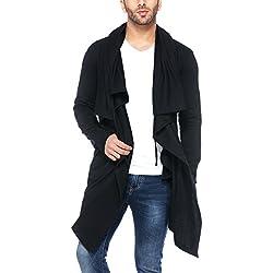 Tinted Men's Cardigan (TJ5456-BLACK-M_Black_Medium)