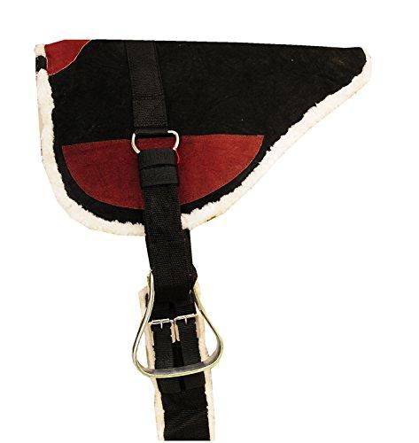 Reitsport Amesbichler AMKA Leder Bareback Pad Prosoft Reitkissen mit Metall Steigbügel und Gurt komplettes Set schwarz/braun, Größe: Vollblut