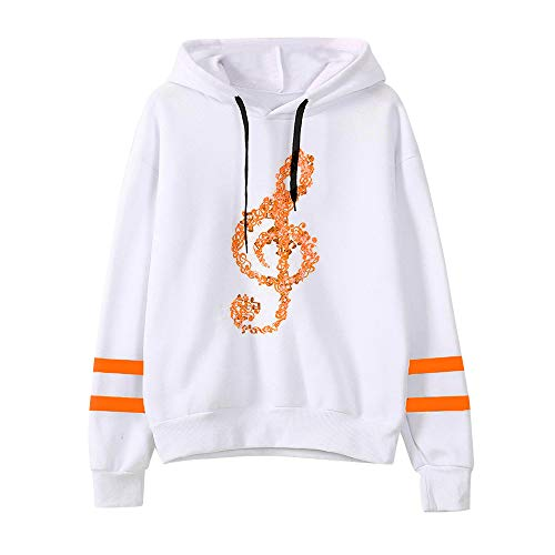 MYMYG Frauen Musical Notes Printed Langarm Hoodie Sweatshirt mit Kapuze Pullover Tops Bluse Lose...