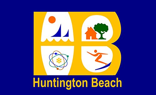 magFlags Flagge: Large Huntington Beach, California | Huntington Beach City | Querformat Fahne | 1.35m² | 90x150cm » Fahne 100% Made in Germany