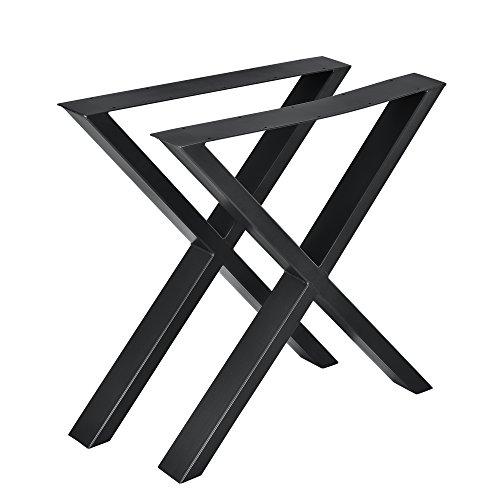 [en.casa] 2X Tischgestell 69x72cm DIY Tisch Esstisch Esszimmertisch Tischuntergestell Tischkufen Tischbein X-Gestell Schwarz Stahl -
