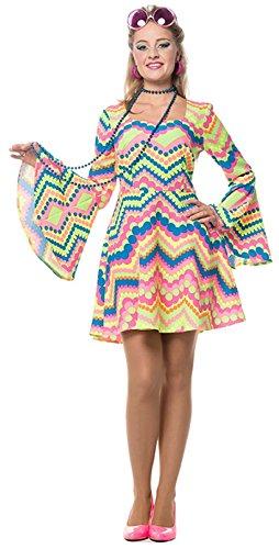 L3201154-48 kügelchen neon-pink dunkel Damen Hippie Kostüm-Kleid Gr.48