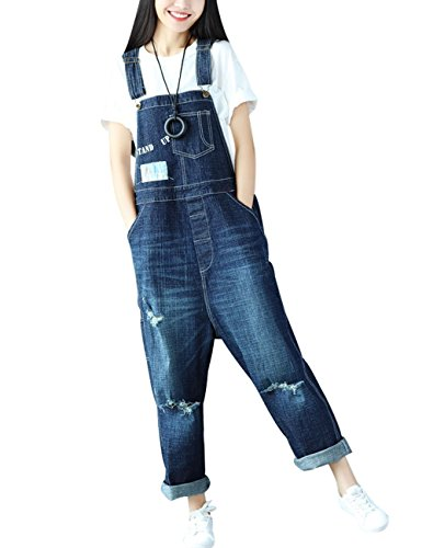 Youlee Damen Jahrgang Denim Latzhose Hosenträger Hosen Style 1 Blau
