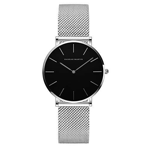 Hannah Martin Damen Uhren Analog Quarz Edelstahl Wasserdicht Mesh Ultradünne (Schwarz Oberfläche ,Silber Armband)
