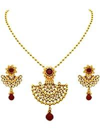 JFL - Traditional Ethnic One Gram Gold Plated Diamond & Stone Designer Pendant Set For Women & Girls.