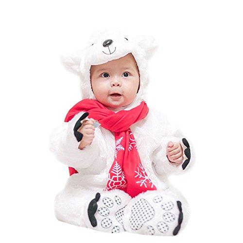 Lazzboy Kostüm Kind Baby Halloween Tierkostüm mit Kapuze Body Footies Strampler Outfit(Höhe 80,Weiß)