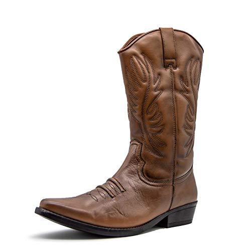 Herren Leder Cowboy-Ziehen Auf der westlichen Langen kubanischen Ferse Smart Knöchel Stiefel EU40-47 - UK 12 / EU 46, Tan