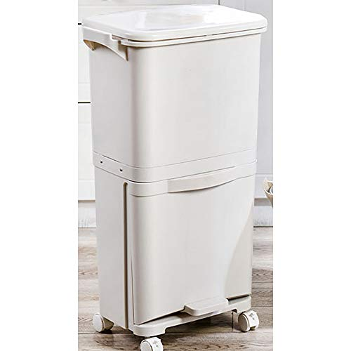 Contenedor de basura de clasificación de doble capa para cocina, Pedal de cocina vertical para el hogar...