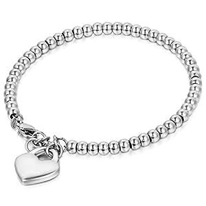 Oidea Bracciale Braccialetto per Donna Braccialetto perline in acciaio inox con pendente cuore argento