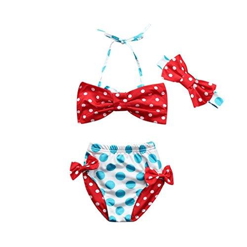 Mädchen Baby Yesmile 3PCS Set Mädchen Baby Wellenpunkt Kleider SetNeugeborene Baby Jungen mit Bow Sommer Rüsche Strand Badeanzug Bademode Tops + Hose + Stirnband (100, Rot) (Kleid Rüschen Racerback)
