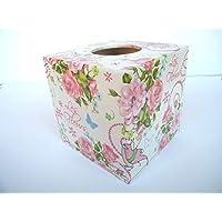 Porta pañuelos toallitas faciales Caja de Madera Cubo Dispensador de Papel Servilletas hosteleria Rosas 13 x13x13