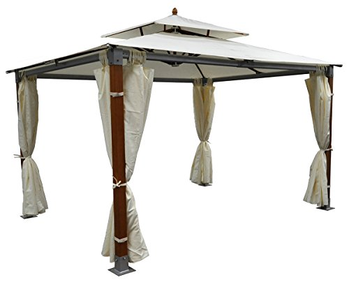 Samira gazebo da giardino 3x4 in legno-alluminio