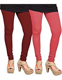 CAY 100% Cotton Combo of Maroon and Pink Color Plain, Stylish & Most Comfortable Leggings For Girls & Women with Full Length (SIZE : Free Size)