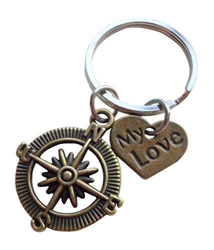 JewelryEveryday Meine Liebe Bronze Kompass Schlüsselanhänger - I'd be lost without you ich wäre ohne dich verloren; Paare Schlüsselanhänger (Nautische Valentine Karten)