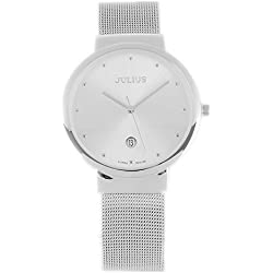 JULIUS JA426 Classic Stainless Steel Analogue Quartz Wrist Watch with Day Display(White)