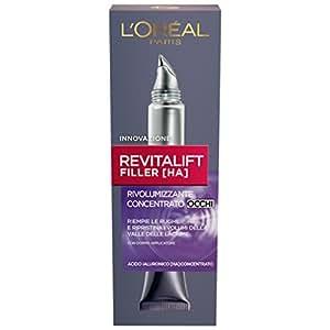 L'Oréal Paris Revitalift Filler Crema Viso Contorno Occhi Antirughe Rivolumizzante con Acido Ialuronico Concentrato, 15 ml