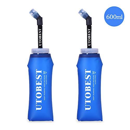 Utobest morbido borraccia d' acqua pieghevole pieghevole corsa bottiglie con cannuccia 600 ml/350ml BPA senza PVC (600ml)