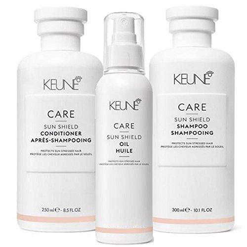 Keune Care Sun Shield Set Shampoo 300ml + Conditioner 250ml + Öl 140ml Schützt Haar Sonnenbrille, Chlor, Salz