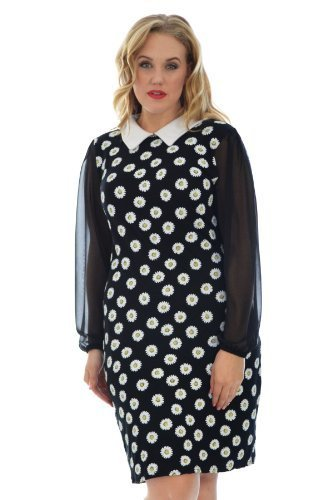 Daisy Print Dress Black 20 (Daisy Manschette)