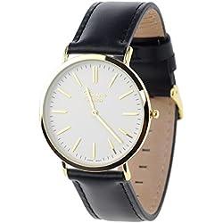 Men's Geneva Japanese Movement Stainless Steel Back Genuine Leather Strap Watch - Black/White