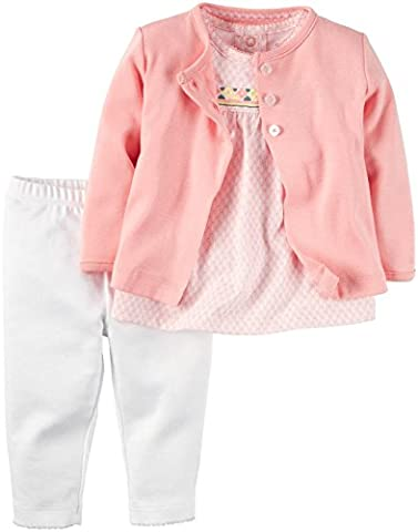 CARTER'S -Baby Girl & Baby Boy-Gift Set-Cotton-Hooded Cardigan-Pants-Bodysuit (3 Months,