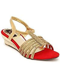 Rimezs Red Embellish Party Evening Wear Slip On Sandal For Women And Girls - B075YSSV2L
