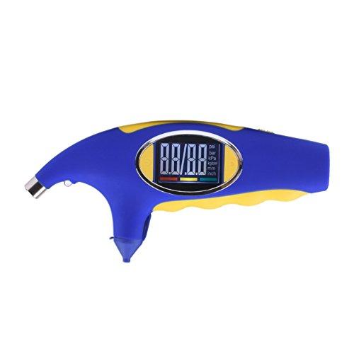 Reifendruckprüfer NuoYo LCD Reifenmessgerät Multi Funktions Reifendruck Messgerät mit Profiltiefe Messer Farberkennung für Autos LKWs und SUVs Messbereich 0.35-6.8 bar (Blau und gelb)