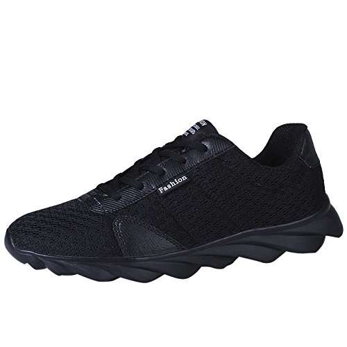 QUINTRA Herrenmode Turnschuhe Casual Beathable Mesh Schuhe Lace-up Laufschuhe (42, Schwarz)