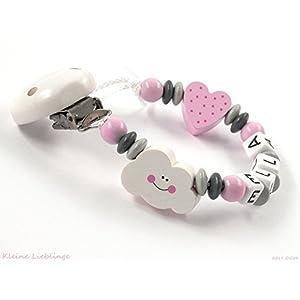 Kleine Lieblinge Schnullerkette mit Namen Mädchen - Wolke Herz Holz - viele VARIANTEN - rosa grau weiß - Baby Taufe Geschenk Holz - Silikonring
