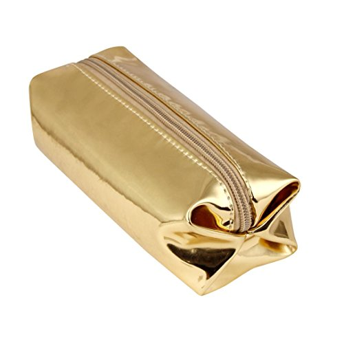 Pencil Case,LONUPAZZ Fashion Hologramme étui à Crayons étudiant Boîtes De Maquillage Porte-Stylo De Bureau Zipper Sac De Rangement Cosmétique (Or)