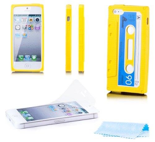 5s Iphone Cover Kassette (Apple iPhone SE / 5S / 5 | iCues Kassette Case Gelb | [Display Schutzfolie Inklusive] Kassettenhülle Tape Schutzhülle Hülle Cover Schutz)