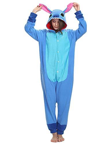 ier Karton Fasching Halloween Kostüm Sleepsuit Cosplay Fleece-Overall Pyjama Schlafanzug Erwachsene Unisex Nachtwäsche (M, Blau 4) ()