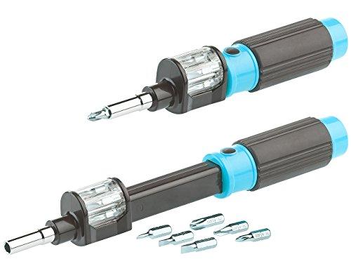AGT Schraubenzieher: 6in1-Bit-Schraubendreher mit Wechseltrommel, magnetische Bit-Halterung (Magnet Schraubendreher Set)