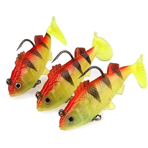 johncoo morbido piombo Pesce Nuoto Shad Fishig Lure piombo testa Esca, Confezione da 4, Yellow+Orange