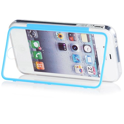Apple iPhone 4/4S | iCues Transparent Touch TPU Case Pink | Water Resist Full-body Protection Heavy Duty Cover with Built-in Screen Protector [Impact Resistant Bumper] Clear Blue