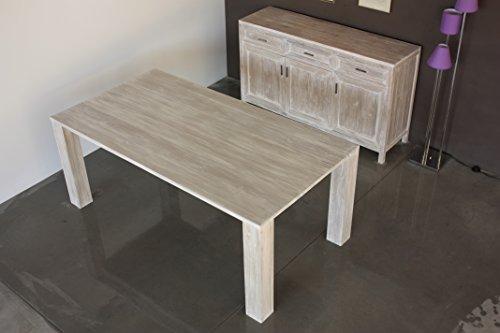 Tavolo shabby in legno di teak finitura bianco decapato - Tavolo bianco shabby chic ...