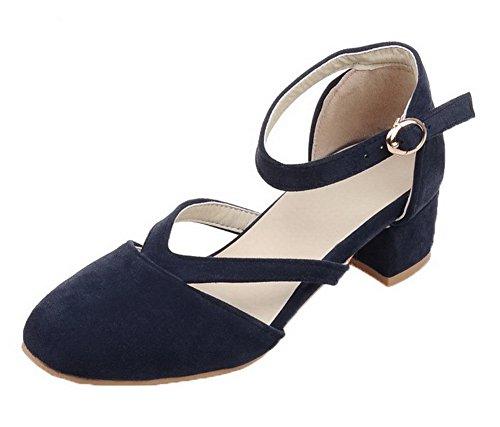 AgooLar Damen Schnalle Niedriger Absatz Mattglasbirne Rein Rund Zehe Pumps Schuhe, Blau, 43
