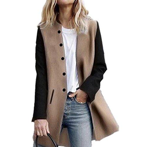 Cappotto donna elegante,kword donna casuale maniche lunghe maglieria cashmere cardigan autunno giacca invernale maglione cappotto donna pelliccia cappotto di pelle giacca donna (khaki, s)