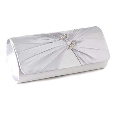Sac Main/Epaule Pochette de Soirée Mariage Femme Portefeuille Type Baguette Rabat en Tissu Satin Plisse Deco Anneau Serti de Strass Argent
