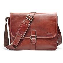 Packenger Aslang Umhängetasche mit Notebook-Fach bis 15 Zoll, Unisex aus Echtleder Koffer, 42 cm, 36 Liter