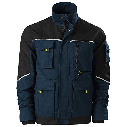Herren CORDURA® Arbeitsjacke mit multifunktionalen Taschen - Reflektionsstreifen - mehrere Farben - NEU bis XXL (W53 - Navy - L) (Mehrere Offene Taschen)