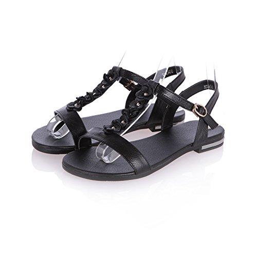 WZG Frühling und Sommer neue Rindsleder Sandalen flache Schuhe wilden dünnen Sandalen Riemen Black