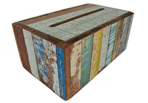 Rustic Beach Taschentuch-Box handgefertigt Antik-Look Antik Pastell Large (8cm x 24cm x 12cm)
