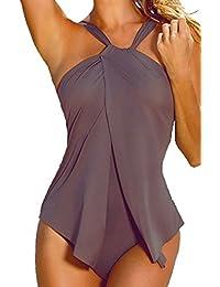 Traje De Baño Mujeres Cabestro De Una Sola Pieza Bañadores Bikini Monokini Trikini Café XL