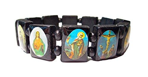 Geralin Gioielli Jesus Christus Heiligen Stretch Rosenkranz Perlen Armband (Holz Rosenkranz Armband)