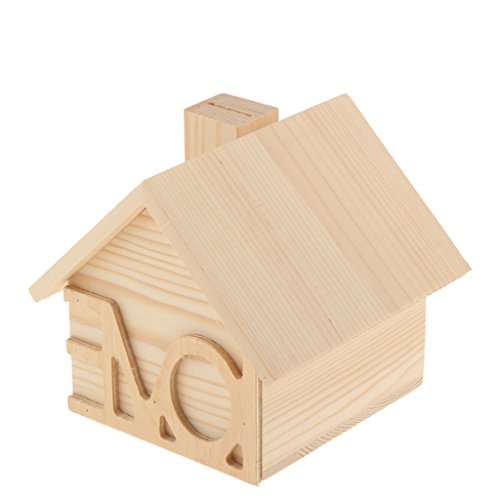 MagiDeal 1 Stück Holzkiste Geld Sparen Kasten für Kinder Holzhaus Kisten