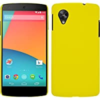 Funda Rígida para Google Nexus 5 - goma amarillo - Cover PhoneNatic Cubierta + protector de pantalla