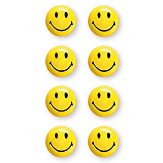 magnetoplan Smiley Magnete, Druchmesser 20 mm, 8 Stück, gelb/schwarz