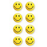magnetoplan Lot de 8 aimants à smiley, 20 mm de diamètre, jaune et noir